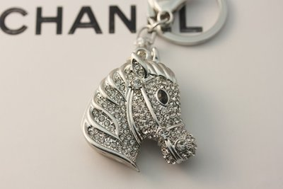 Rhinestone Tassieraad/sleutelhanger Paardhoofd Silver.